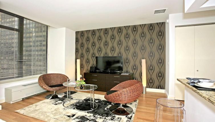 Decorated studio apartment at Hanover Square Apartments